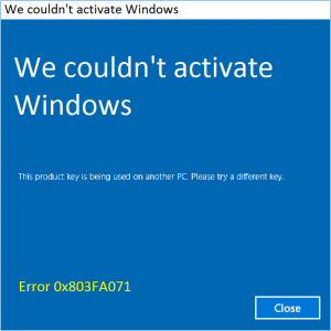 Как исправить ошибку активации Windows 10 0x803FA071
