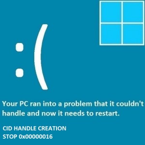 Как исправить ошибку CID HANDLE CREATION