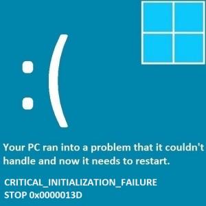 Как исправить ошибку Critical_Initialization_Failure