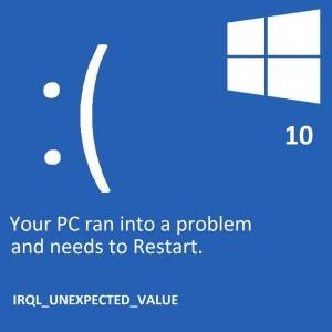 Как исправить ошибку IRQL_Unexpected_Value в Windows 10