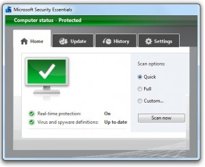 Устранение проблем с обновлением Microsoft Security Essentials