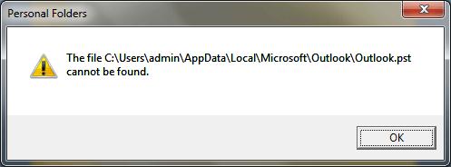 Как исправить ошибку Outlook PST файл не может быть найден