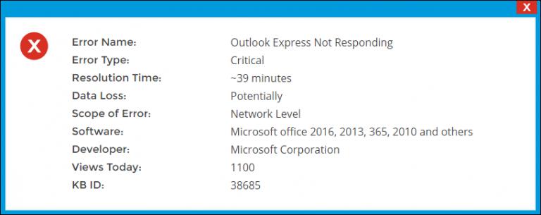 Microsoft Outlook Express не отвечает Windows XP – Исправления