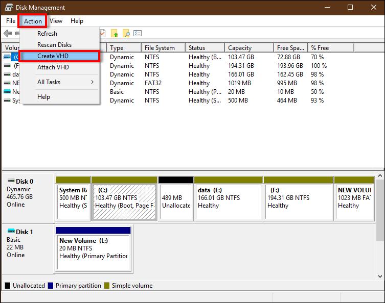 Как создать VHD / VHDX и прикрепить VHD навсегда в Windows 10