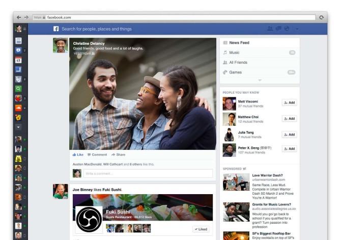 Получите новый дизайн новостной ленты Facebook немедленно