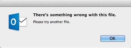 Что-то не так с ошибкой файла при импорте файла данных из Windows в MAC Outlook