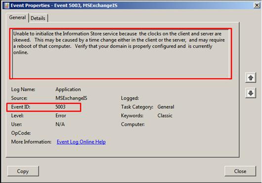 Идентификатор события 5003 хранилища информации Exchange – устраненная ошибка