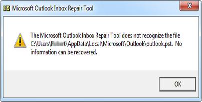 ScanPST не распознает файл PST в Outlook 2010, 2013, 2016