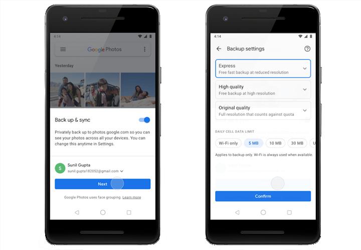 Как использовать опцию экспресс-резервного копирования в Google Фото для Android