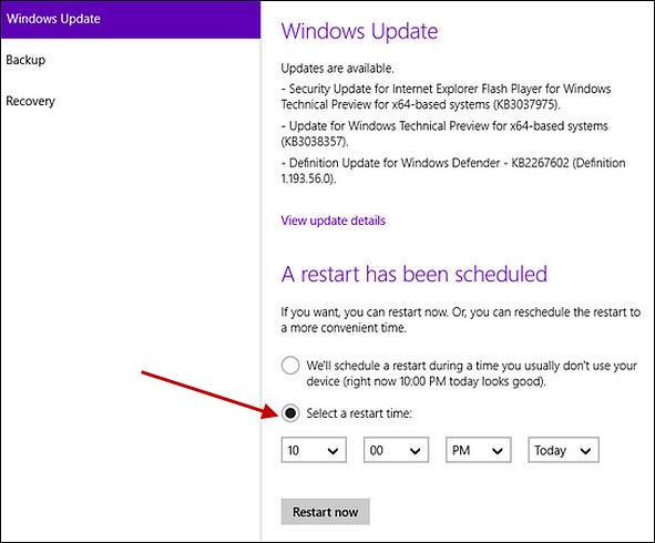 Windows 10 позволяет установить определенное время для планировщика перезагрузки Центра обновления Windows.