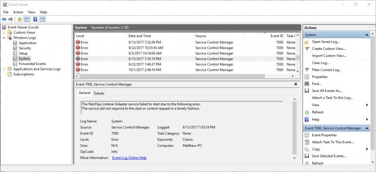 Как исправить ошибку входа в систему с идентификатором события Service Control Manager 7000 в Windows