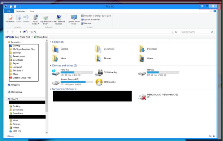 Исправлено: границы окна и кнопки управления окном связаны с пикселями в Windows 8.1.