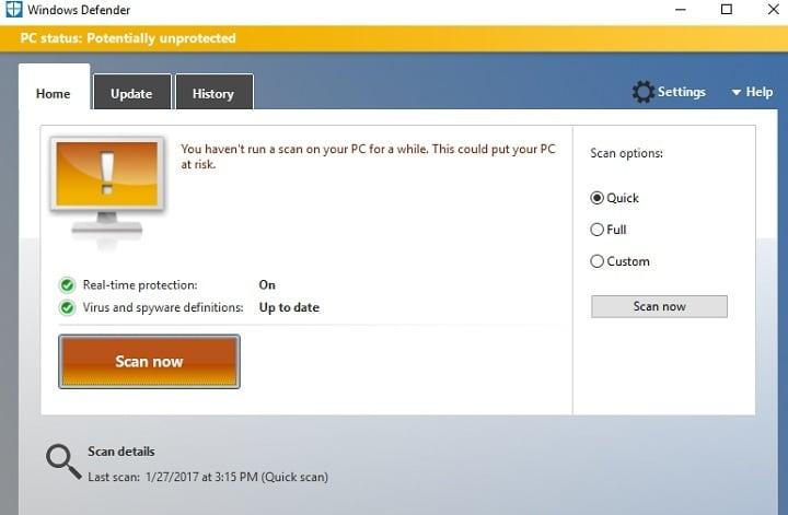 Исправлено: не удалось инициализировать приложение Защитника Windows.