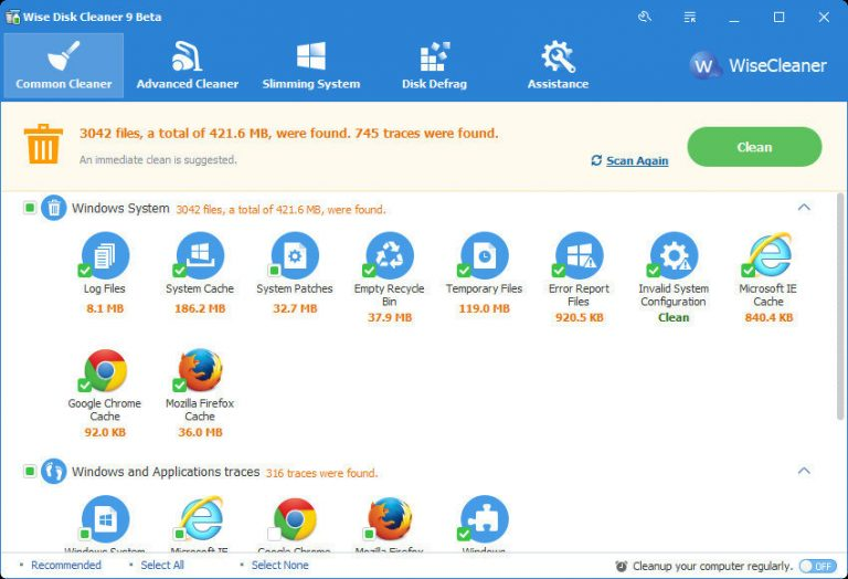 Запуск Wise Disk Cleaner 9 для пользователей Windows 10[Descargar]