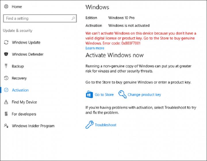 Не удается активировать Windows 10 после юбилейного обновления