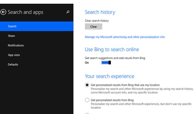Как управлять (отключать / настраивать) службой веб-поиска Bing в Windows 8.1