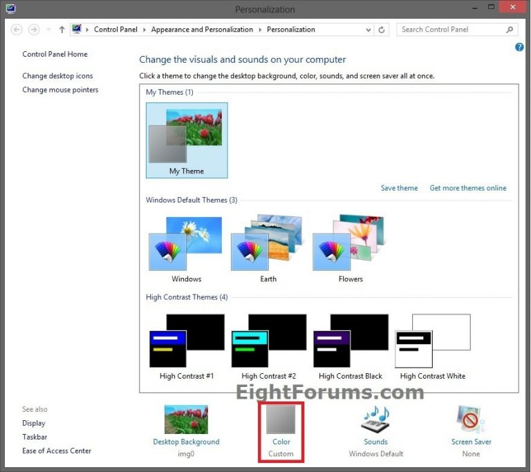 Как изменить цвет окна в Windows 8, 8.1