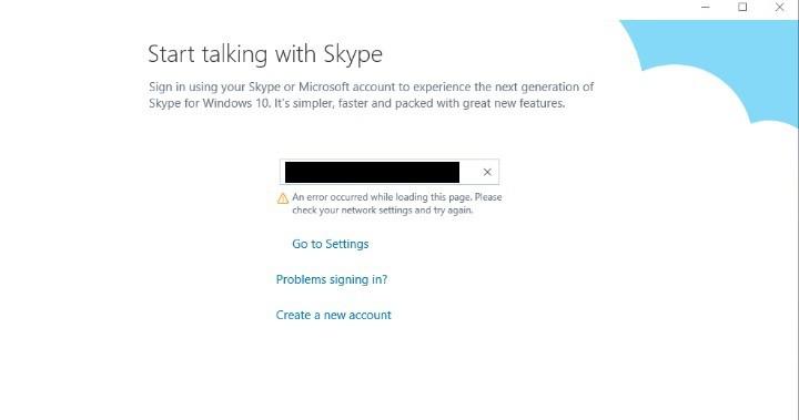 """Пожалуйста, проверьте настройки вашей сети и попробуйте еще раз """"Ошибка Skype"""