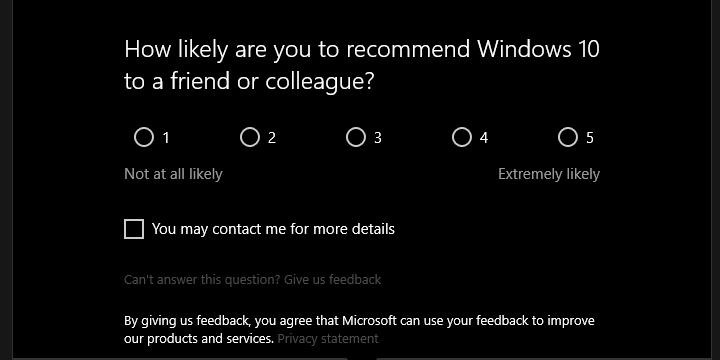 Отключить: «Насколько вероятно порекомендовать Windows 10?