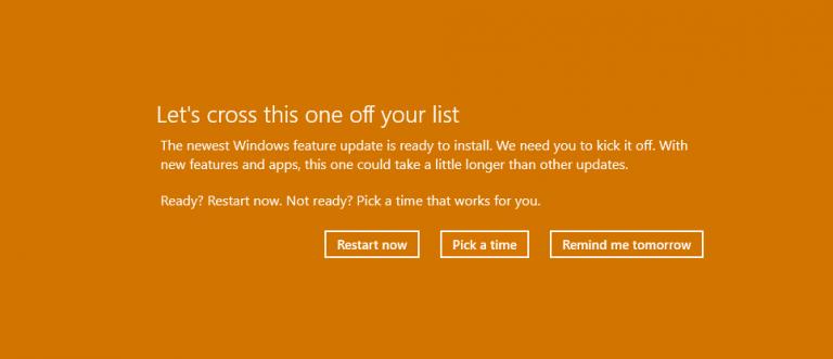Последнее обновление функций Windows находится здесь: Как удалить предупреждение