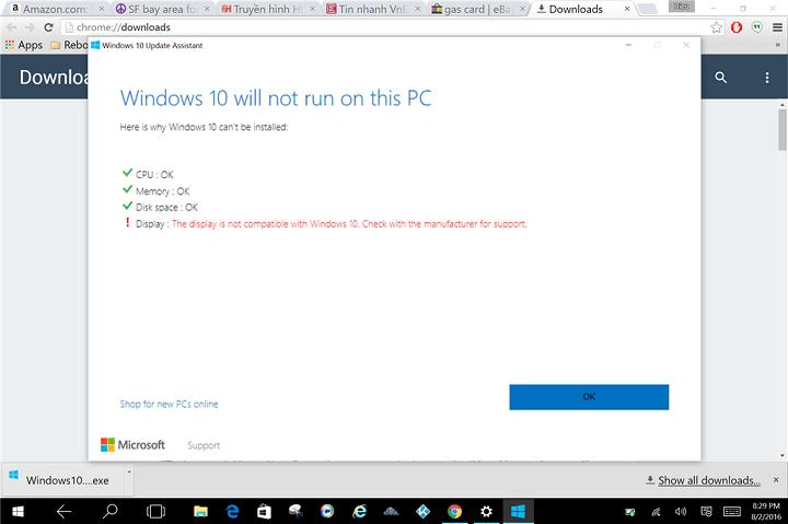 Исправлено: ошибка отображения несовместимости препятствует установке юбилейного обновления Windows 10.
