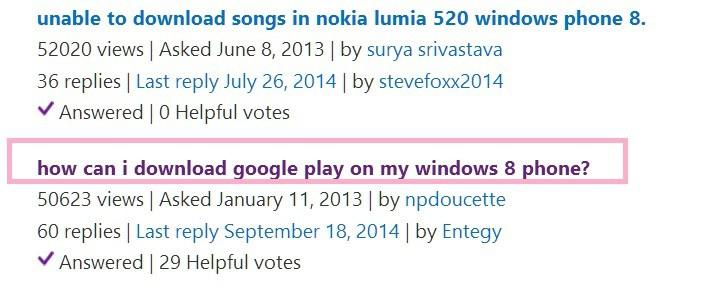 Забавно: пользователи Windows Phone 8 спрашивают, как загрузить Google Play Store на свои телефоны