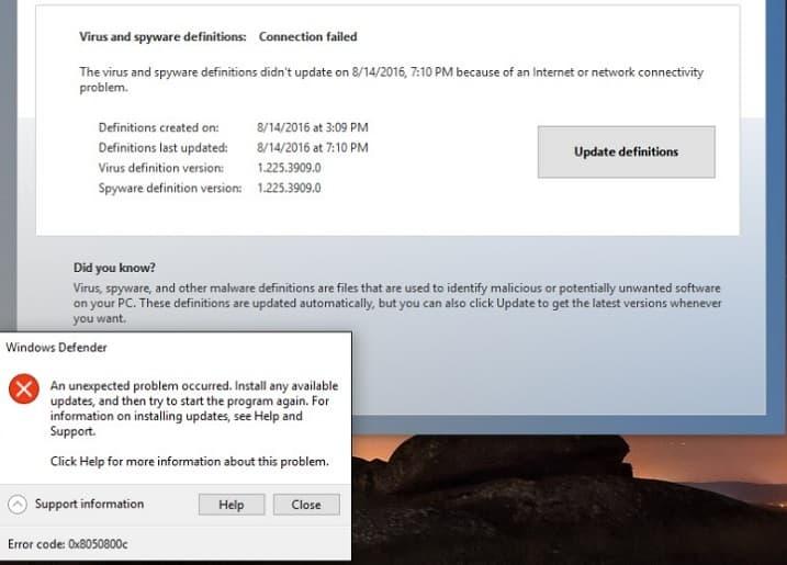 Ошибка обновления Защитника Windows 0x8050800c[FIX]