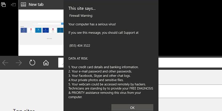 Что такое «Предупреждение Microsoft» в Edge и как его удалить