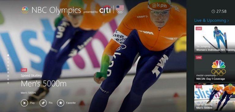 Приложение NBC Olympics для Windows 8 транслирует зимние игры 2014 года