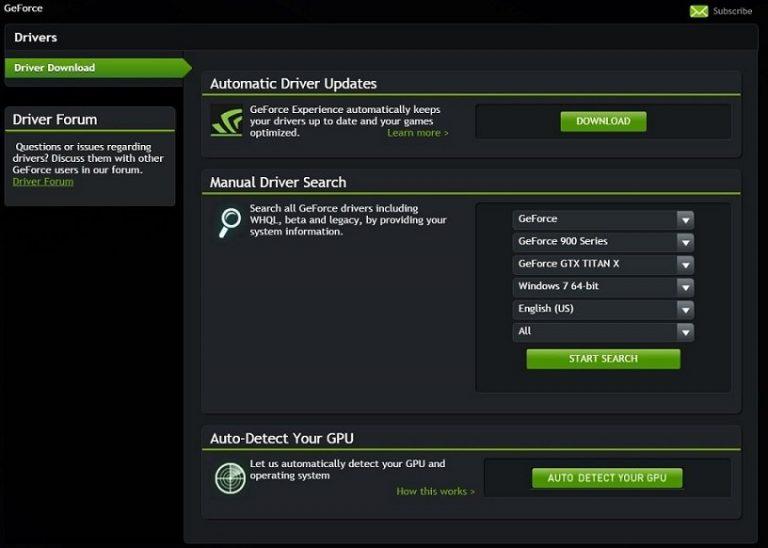 Загрузите последние версии драйверов Nvidia GeForce для Windows 10
