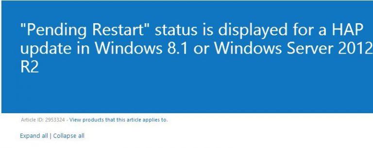 Исправлено: статус «Ожидает перезагрузки» отображается в Windows 8.1, 10.