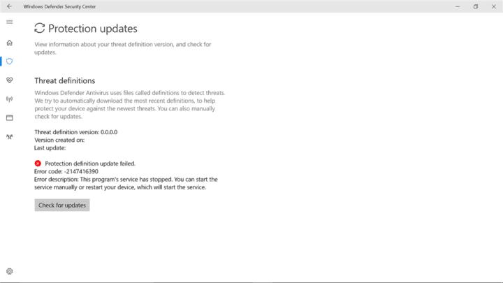 Исправлено: «Ошибка обновления определения защиты» ошибка Защитника Windows.