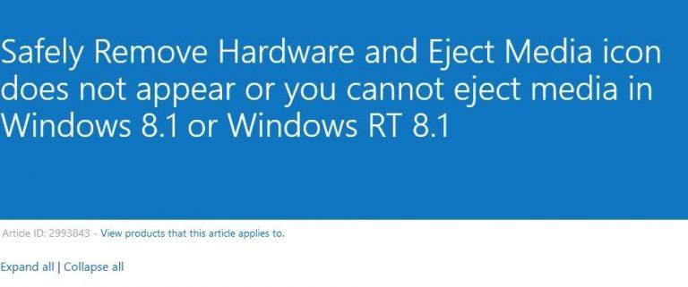 Исправлено: значок безопасного извлечения оборудования и извлечение носителя не отображается или не удается извлечь носитель в Windows 8.1.