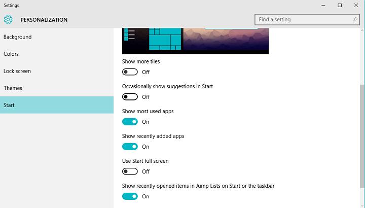 Удалите рекомендации приложений из меню Пуск в Windows 10