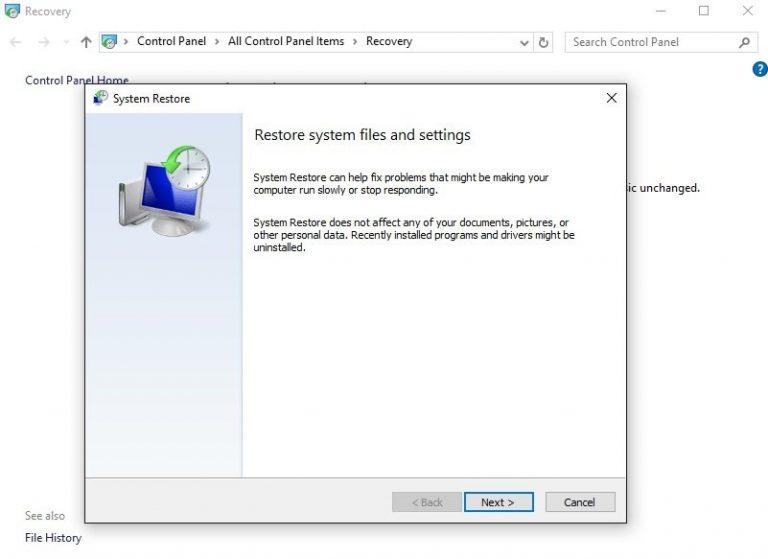 Ошибка восстановления системы 0x800700b7 в Windows 10