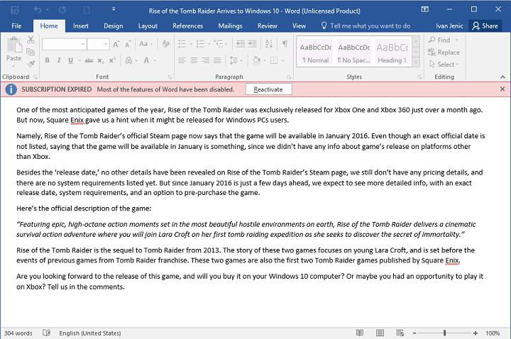 Исправлено: не удается редактировать документы Word 2016.