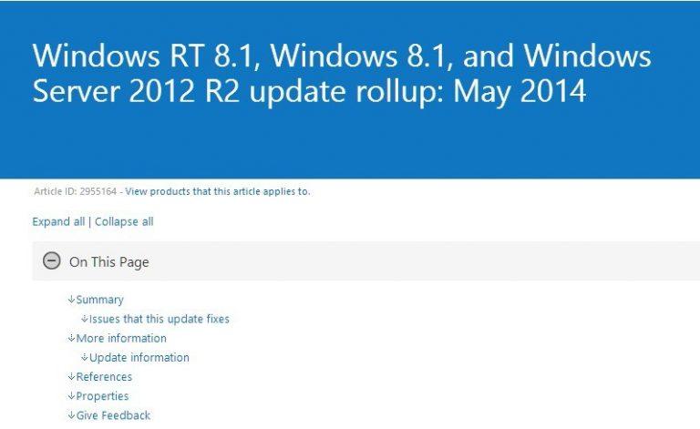 Все проблемы устранены с помощью накопительного пакета обновлений Windows[Mayo 2014]