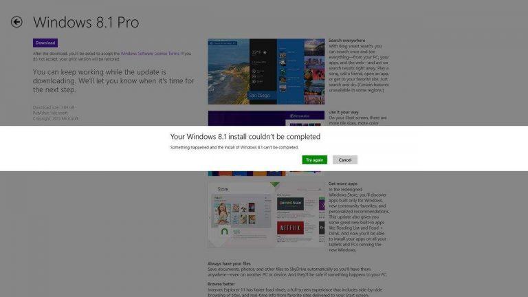Решите проблему Не удалось завершить установку Windows 8.1