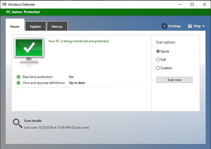 Автоматическое сканирование Защитника Windows не работает в юбилейном обновлении